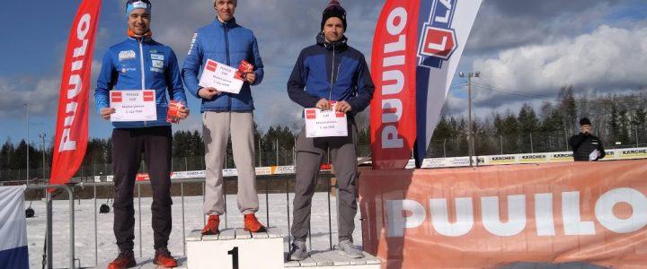 Kaisa Mäkäräinen ja Tero Seppälä Puuilo-cupin kokonaiskilpailun ykköset