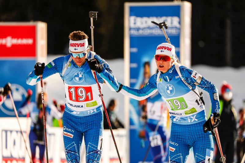 18.02.2021, Pokljuka, Slovenia (SLO): Jaakko Ranta (FIN), Mari Eder (FIN), (l-r) - IBU World Championships Biathlon, single mixed relay, Pokljuka (SLO). www.nordicfocus.com. © Manzoni/NordicFocus